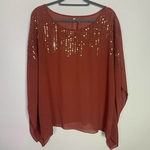 UMGEE Gold Sequined Sheer Batwing Blouse 1XL